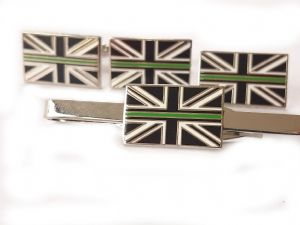 Thin Green Line Ambulance Service Cufflink, Lapel Badge and Tie Clip Gift Set (2)